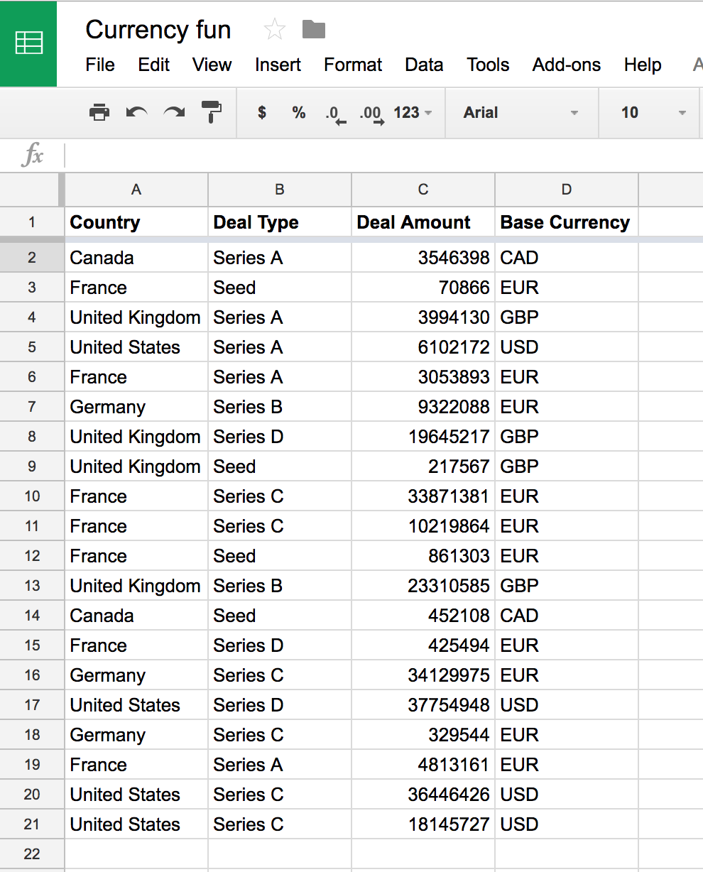 Autogenerating Currency Conversion Formulas In Google Sheets Using